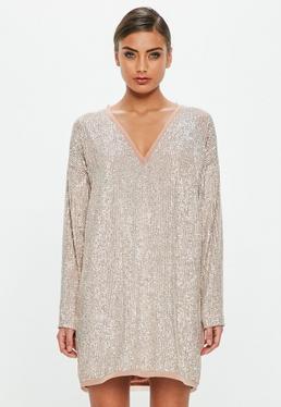 Peace + Love Silver Sequin Embellished Shift Dress