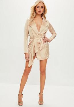 Nude Satin Trench Coat Dress