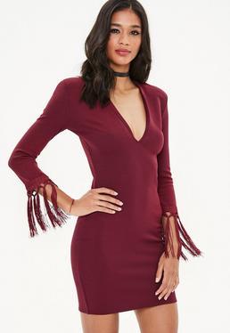 Burgundy Plunge Tassel Open Back Mini Dress