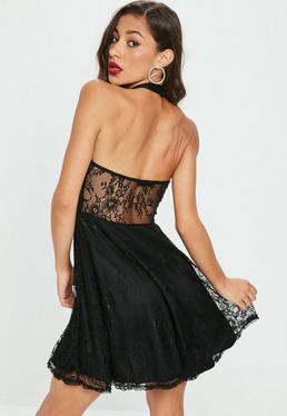 Black Lace Halterneck Plunge Skater Dress