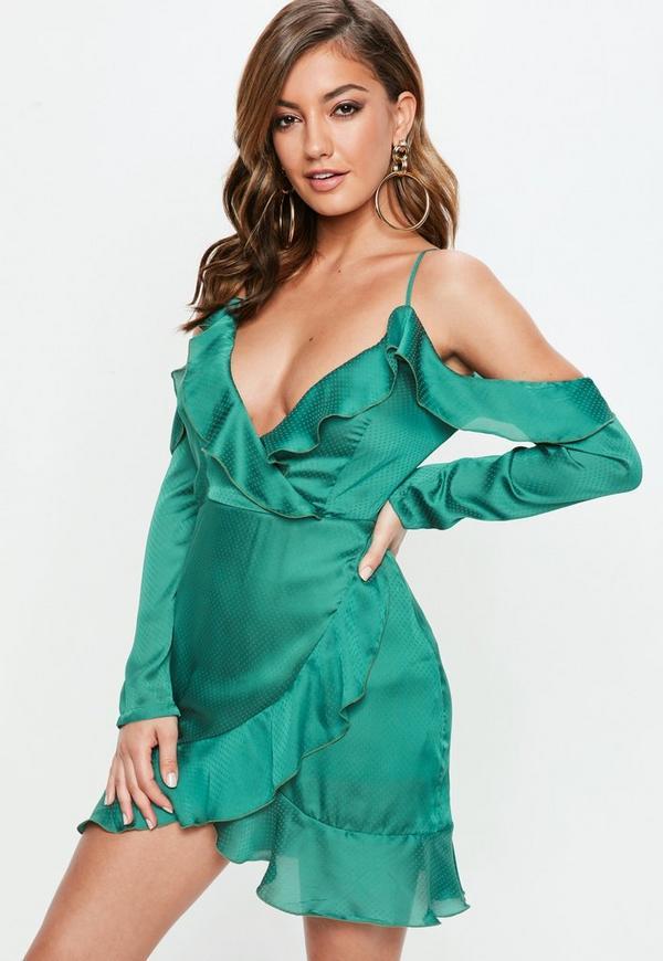 Green Dobby Satin Cold Shoulder Shift Dress | Missguided