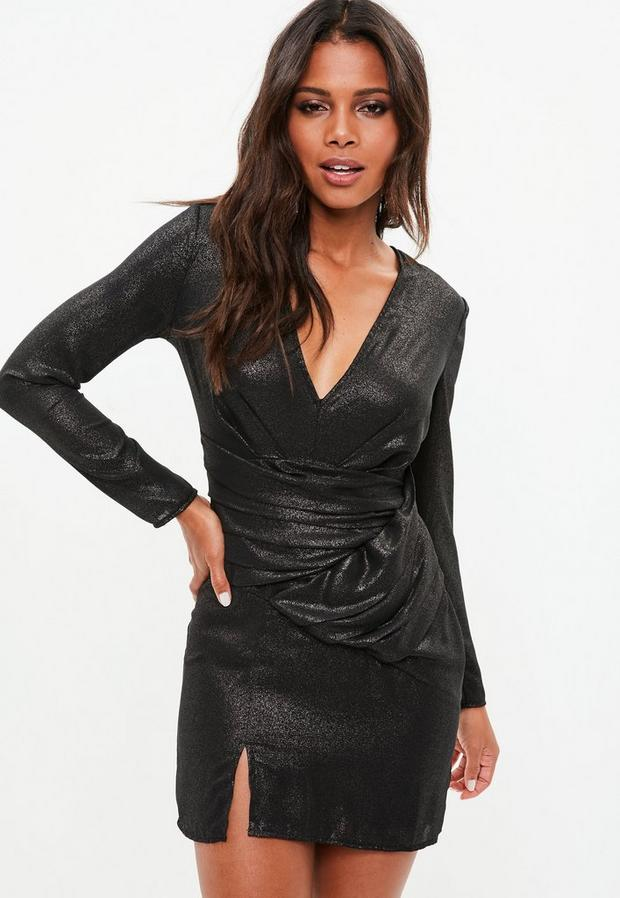Product photo of Black metallic long sleeve wrap plunge dress grey