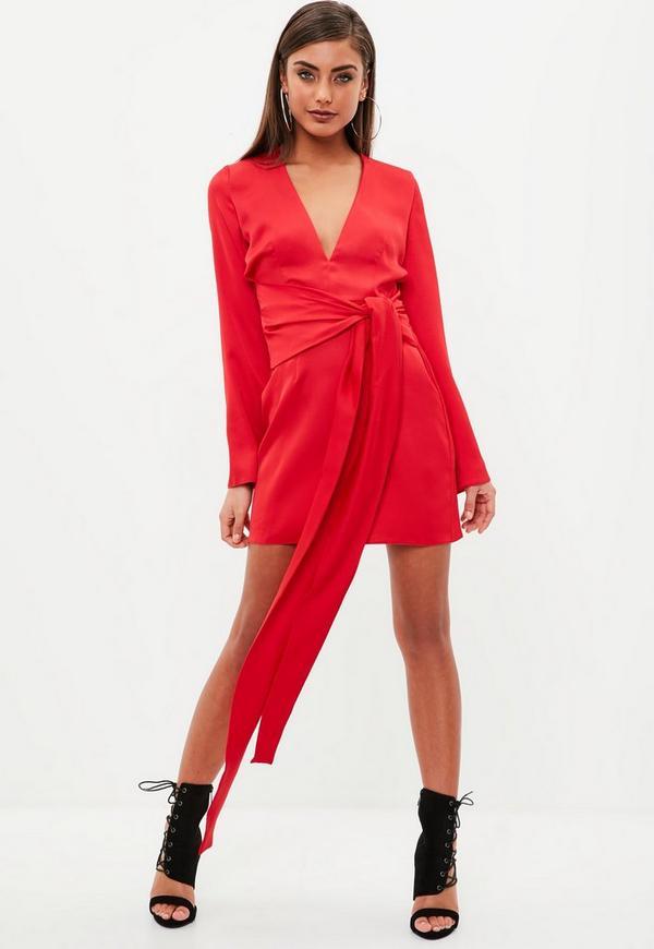Red Satin Tie Waist Dress | Missguided