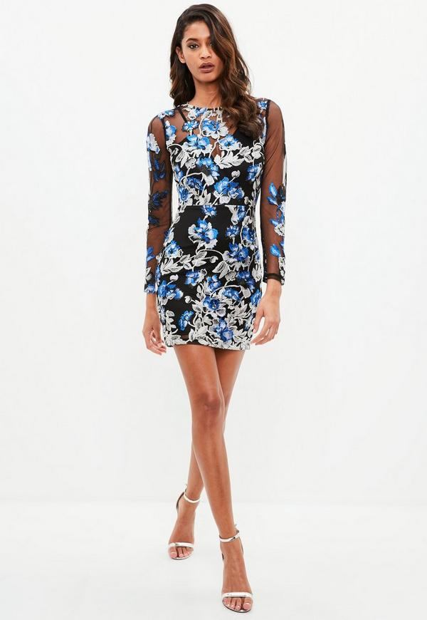 Black floral embroidered mesh mini dress missguided