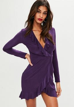 Purple Slinky Frill Detail Tea Dress