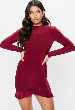 Burgundy Open Back Frill Dress
