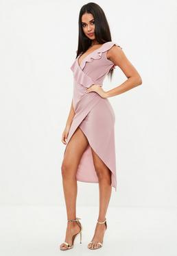 Pink Wrap Frill Midi Dress