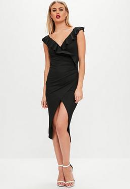 Vestido midi cruzado de crepé en negro