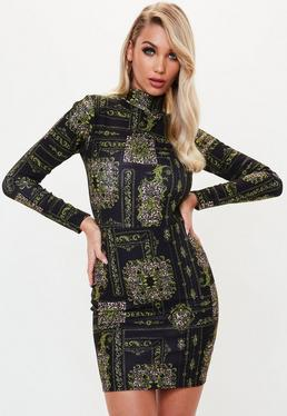 Black Chain Animal Print Long Sleeve Bodycon Dress