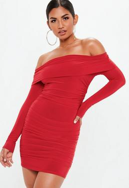 Red Bardot Slinky Mini Dress