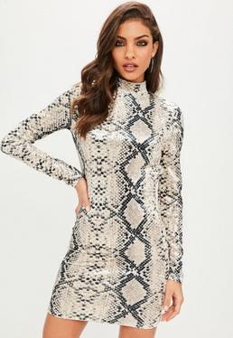 Snakeskin Print High Neck Backless Velvet Dress