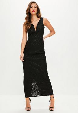 Black V Plunge Lace Maxi Dress