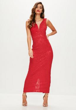 Red V Plunge Lace Maxi Dress