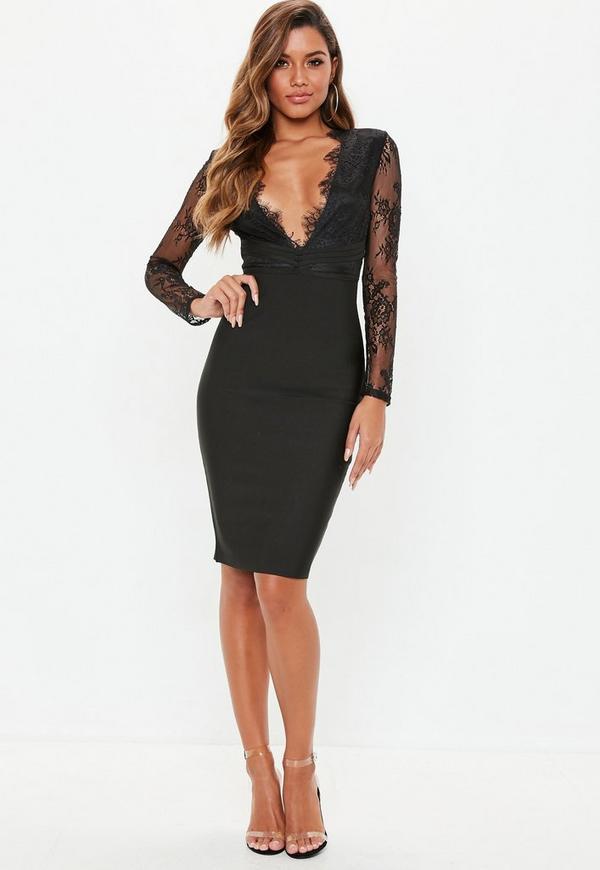 Black Lace Plunge Bandage Bodycon Dress Missguided