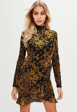 Black Floral Flocked Tea Dress