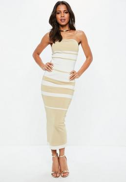 White Striped Bodycon Bandage Dress