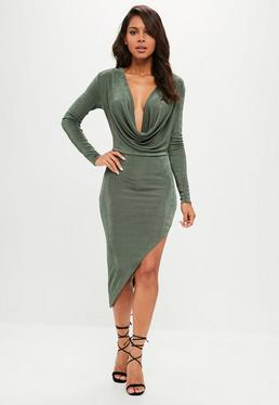 Green Slinky Cowl Long Sleeve Asymmetric Dress