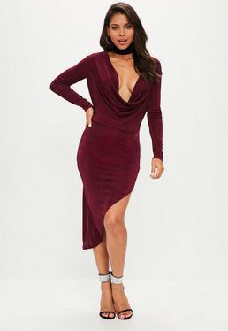 Burgundy Slinky Cowl Long Sleeve Asymmetric Dress