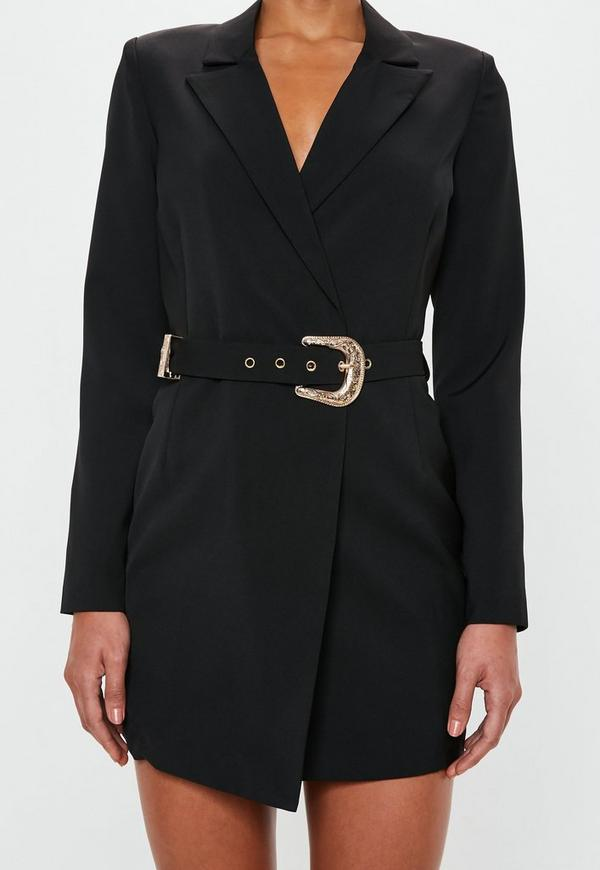 Peace Love Belted Blazer Dress Black Missguided