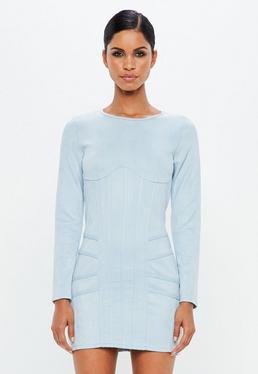 Peace + Love Vestido corto con corsé de antelina en azul cielo