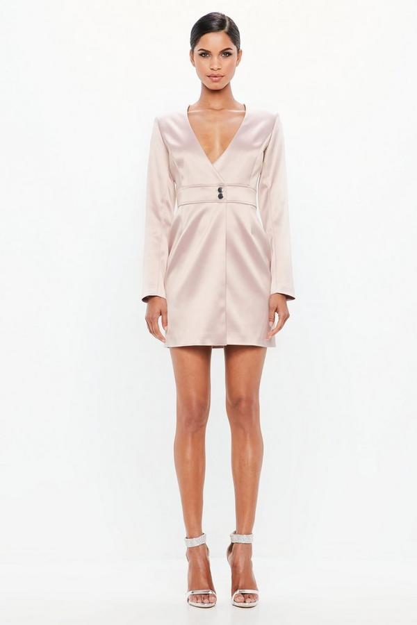 82e91ab11e Peace + Love Pink Satin Tailored Wrap Dress