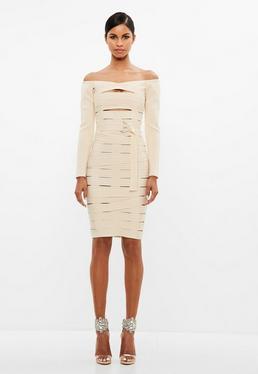 Peace + Love Cream Bardot Bandage Cut Out Midi Dress