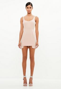 peace + love pink crepe detailed hem mini dress