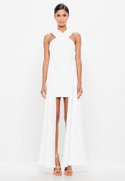 Peace + Love White Cross Over Drape Side Mini Dress