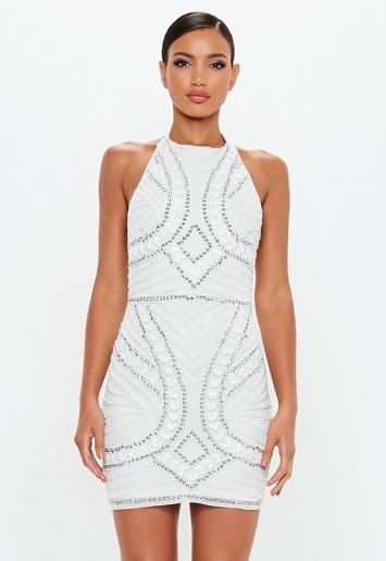 Peace Love White Halterneck Embellished Mini Dress