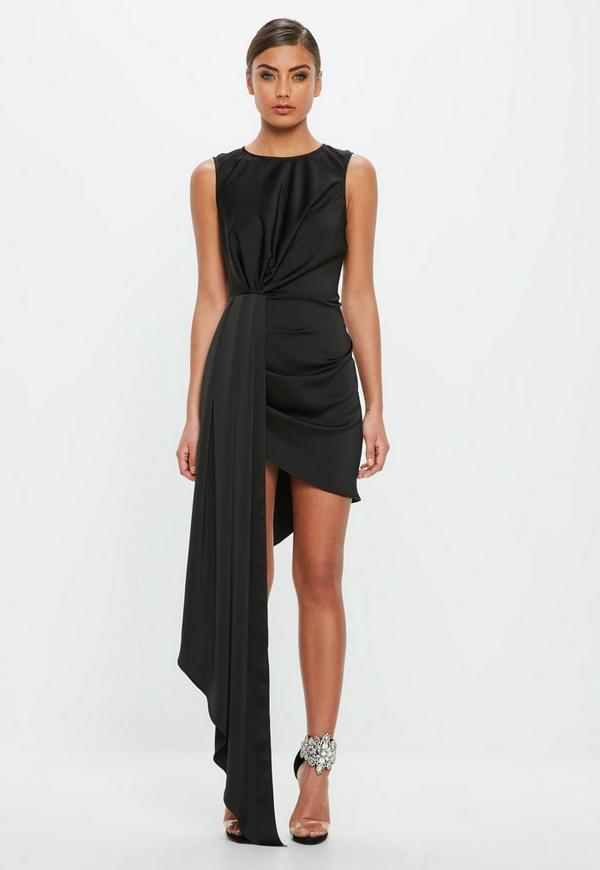 Peace Love Black Drape Mini Dress Missguided