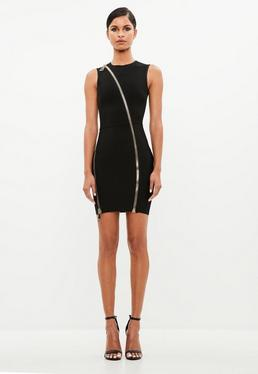 Peace + Love Black Exaggerated Zip Bandage Mini Dress