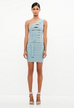 Peace + Love Blue Bandage One Shoulder Dress