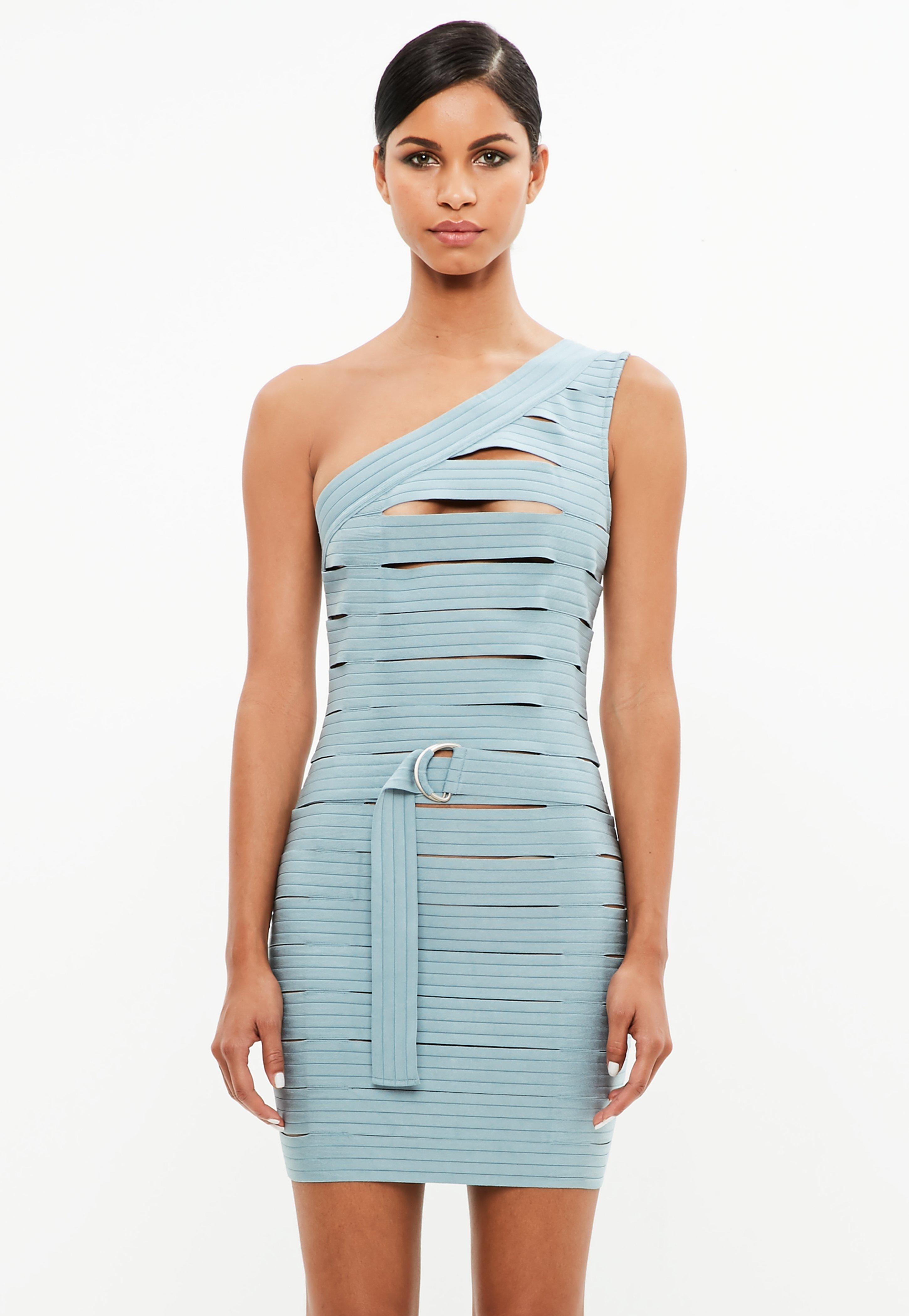 Missguided Robe asymétrique bleue Peace + Love 0k70i
