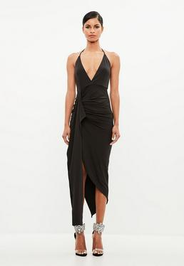 Peace + Love Black Halter Neck Drape Midi Dress