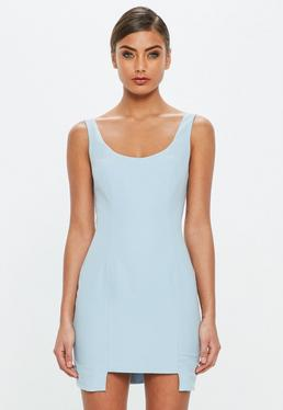 Peace + Love Blue Crepe Detailed Hem Mini Dress