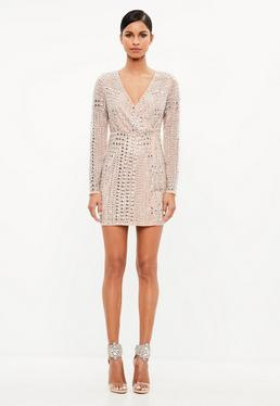 Peace + Love Premium Nude Stud Mini Dress