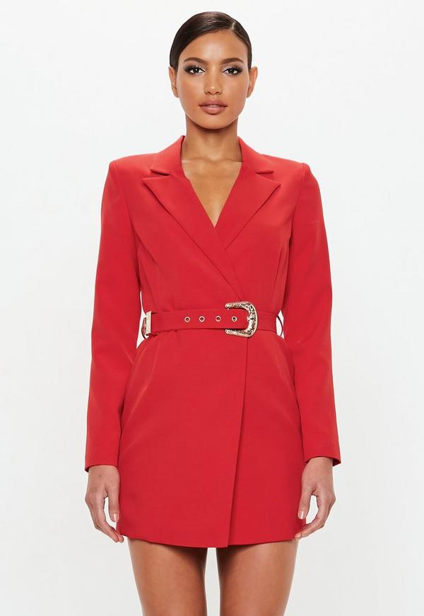 7b051d5bcf8e Peace Love Red Belted Blazer Dress Missguided | 2019 trends | xoosha