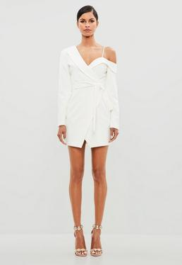 Peace + Love White One Shoulder Tuxedo Dress