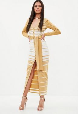 Camel Premium Bandage Stripe Midi Dress