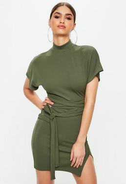 Khaki High Neck Wrap Waist Shift Dress