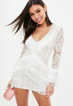 White Lace Tassel Plunge Shift Dress