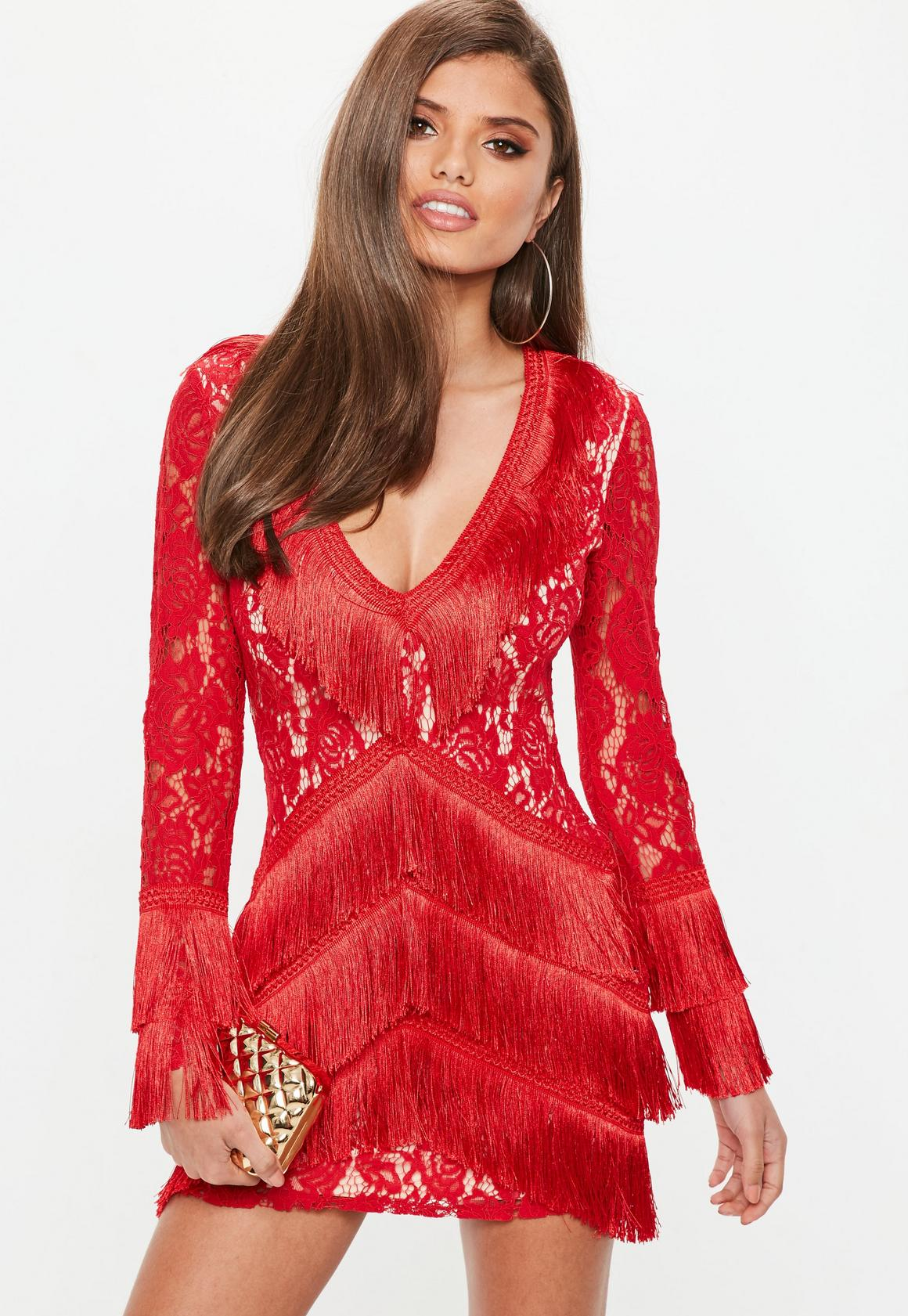 Red Lace Tassel Detail Long Sleeve Dress | Missguided