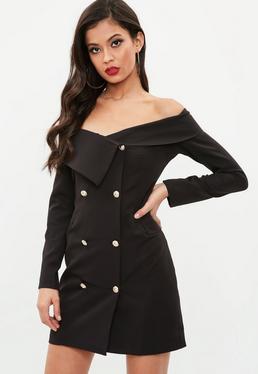 Black Bardot Gold Button Blazer Dress