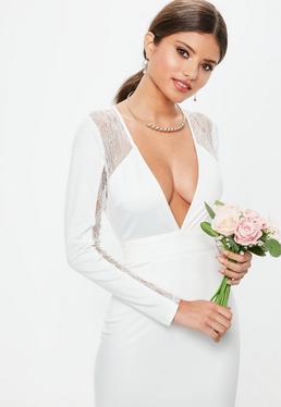 Ślubna Biała sukienka maxi z odkrytymi plecami i głębokim dekoltem