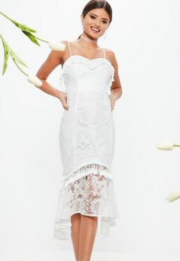Ślubna Biała koronkowa sukienka midi z frędzlami