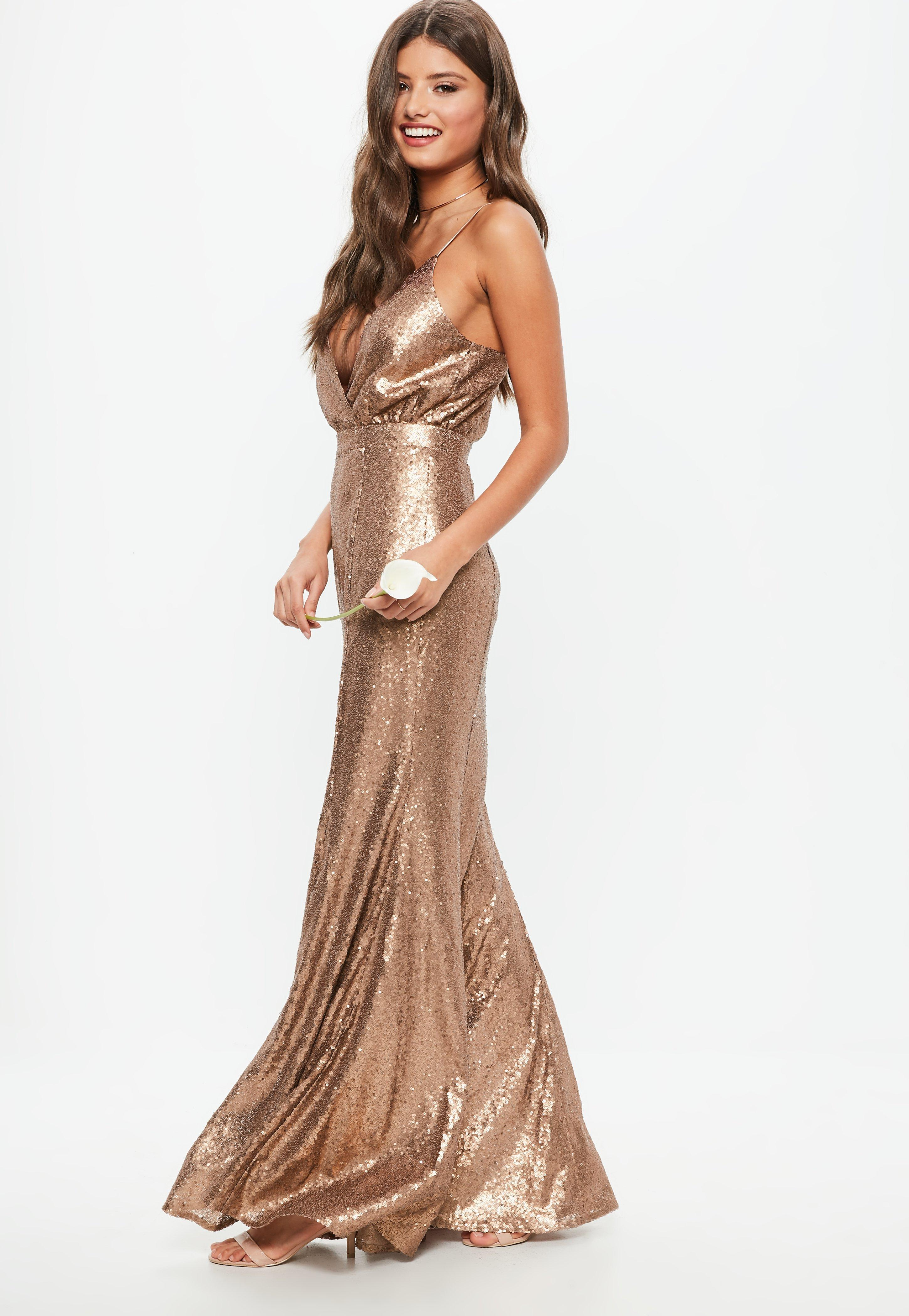 Bridesmaid copper bridesmaid sequin strappy plunge dress missguided ombrellifo Images
