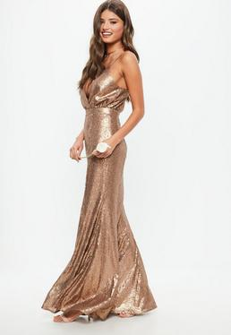 Bridesmaid Copper Bridesmaid Sequin Strappy Plunge Dress