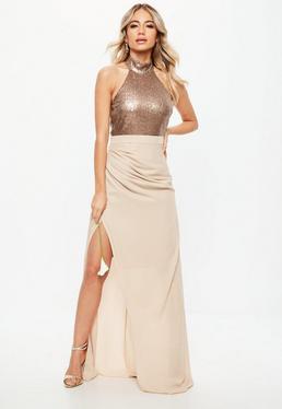 Bridesmaid Nude Sequin Choker Neck Chiffon Maxi Dress