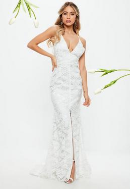 Cheap wedding dresses bridal wear dresses missguided bridal white lace cross low back fishtail maxi junglespirit Image collections