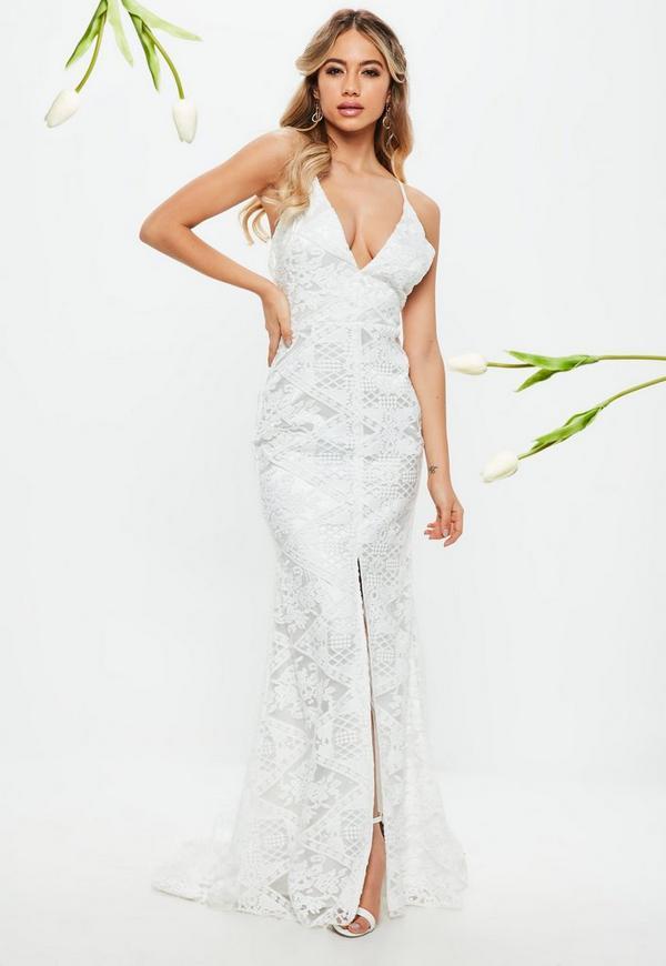 Weißes Maxi-Hochzeitskleid aus Spitze   Missguided